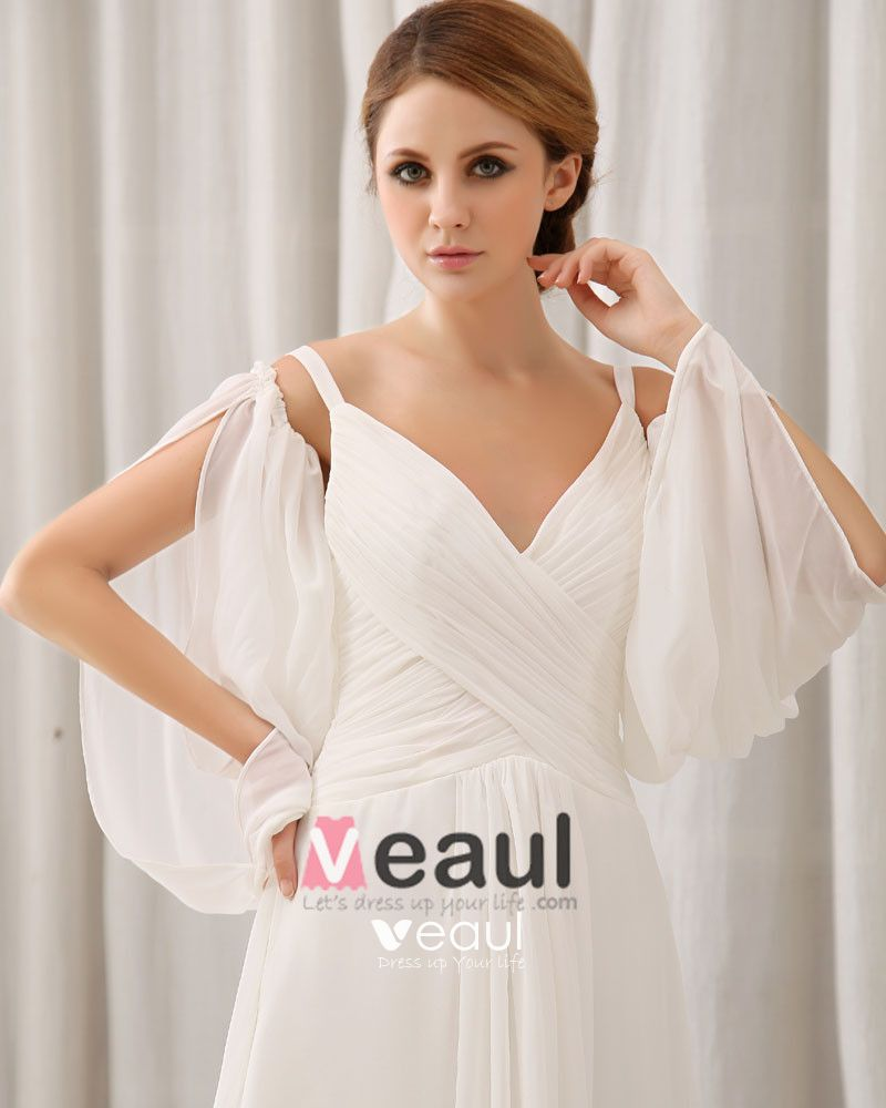 Chapel Train V-Neck Floor Length Ruffles Chiffon Empire Wedding Dress