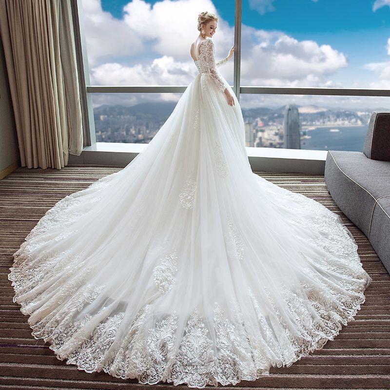 Elegant Ivory Wedding Dresses 2017 A-Line / Princess V-Neck Long Sleeve Backless Appliques Lace Beading Pearl