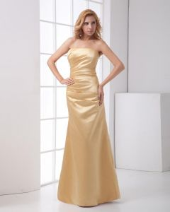 Satin Ruffle Strapless Sleeveless Backless Zipper Floor Length Sheath Bridesmaids Dresses