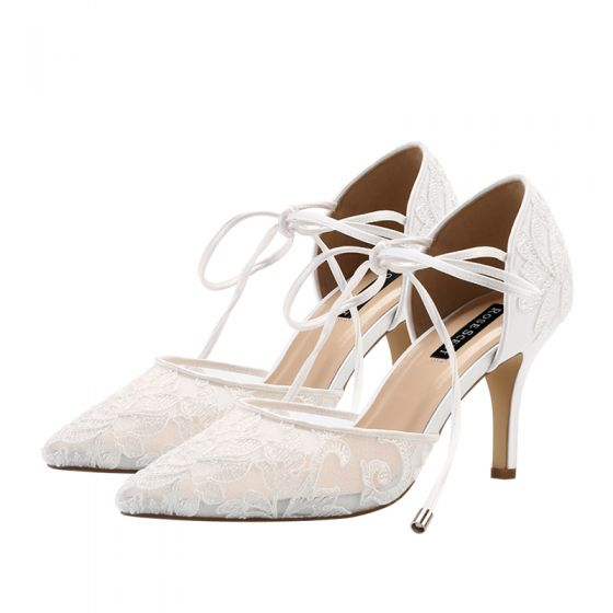 Charming Ivory See-through Lace Wedding Shoes 2021 Bow Ankle Strap 8 cm Stiletto Heels Pointed Toe Wedding High Heels