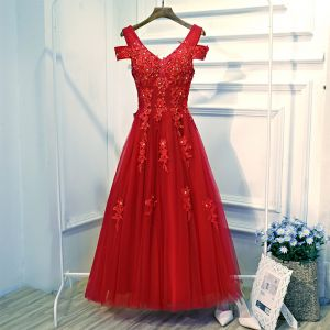 Chic / Beautiful Red Formal Dresses Evening Dresses  2017 Lace Flower Sequins Pearl Backless V-Neck Ankle Length Sleeveless A-Line / Princess
