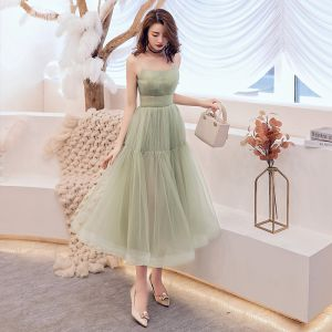 Modest / Simple Jade Green Homecoming Graduation Dresses 2019 A-Line / Princess Spaghetti Straps Sleeveless Tea-length Backless Formal Dresses