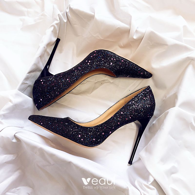 b6ba9f3fb97 Sparkly Starry Sky Black Wedding Shoes 2019 Leather Sequins 10 cm ...
