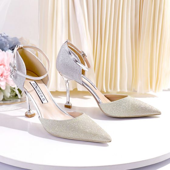 Sparkly Gradient-Color Gold Wedding Shoes 2020 Sequins Ankle Strap 8 cm Stiletto Heels Pointed Toe Wedding Heels