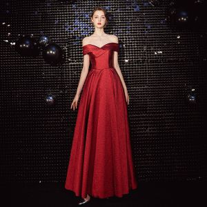 Chic / Beautiful Red Evening Dresses  2020 A-Line / Princess Off-The-Shoulder Sleeveless Backless Floor-Length / Long Formal Dresses