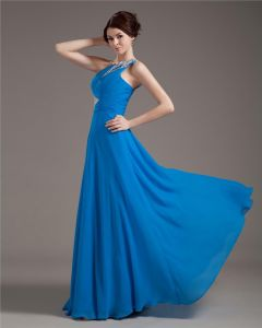 One Shening Dressesoulder Chiffon Pleated Beading Floor Length Plus Size Evening Dresses