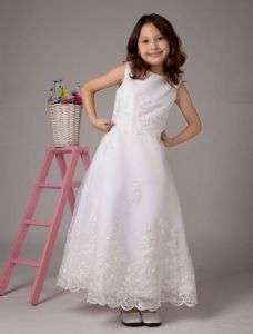 White Sleeveless Embroidery Lace Sequin Beading Satin Flower Girl Dress