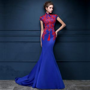 Vintage / Retro Chinese style Royal Blue Evening Dresses  2018 Trumpet / Mermaid Lace Appliques Beading Crystal High Neck Backless Cap Sleeves Sweep Train Formal Dresses