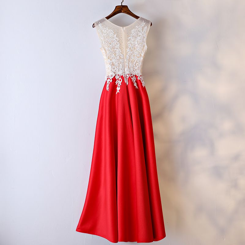 Chic / Beautiful Red Formal Dresses Evening Dresses  2017 Lace Flower Pearl Scoop Neck Ankle Length Sleeveless A-Line / Princess