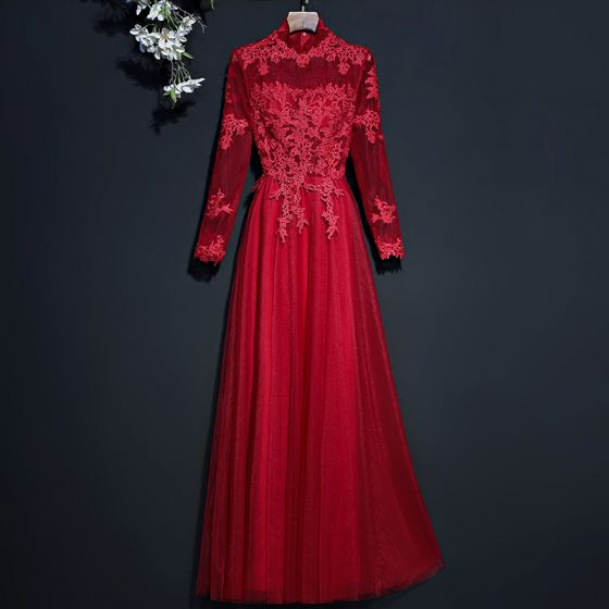 Chic / Beautiful Red Evening Dresses  2017 A-Line / Princess Lace Flower High Neck Long Sleeve Floor-Length / Long Evening Party