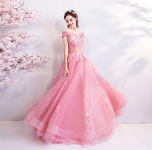 Blumenfee Pink Lange Ballkleider 2018 Ballkleid Tülle Bandeau Applikationen Rückenfreies Perlenstickerei Ball Abendkleider