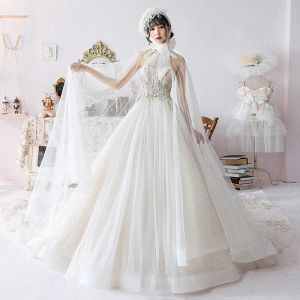 Vintage / Retro Champagne Wedding Dresses With Shawl 2019 Ball Gown Halter Sleeveless Backless Glitter Tulle Beading Cathedral Train Ruffle