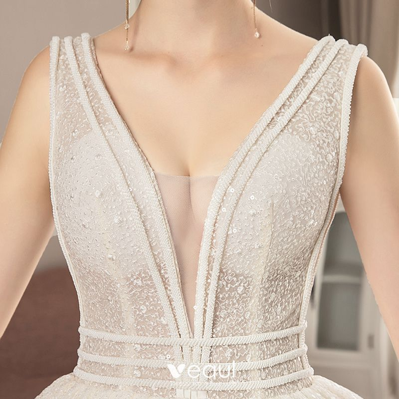 Best Ivory Lace Wedding Dresses 2019 A-Line / Princess V-Neck Sleeveless Backless Beading Cathedral Train Ruffle