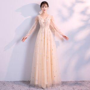 Elegant Champagne Evening Dresses  2018 Empire V-Neck Long Sleeve Pearl Glitter Star Floor-Length / Long Ruffle Backless Formal Dresses