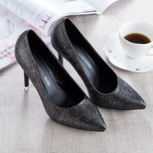 Chic / Belle Noire 2017 PU Bureau Tachetée Chaussures Femmes