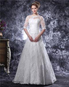 Gracios Spetsar Beslag Bateau Golv Langd Spets En Klänning Linje Brudklänningar Bröllopsklänningar