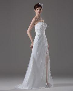 Sweetheart Rez-de Fleurs De Longueur Perles Satin Une Robe De Mariée En Ligne