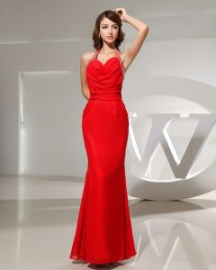 Halter Neckline Floor Length Sleeveless Pleated Beading Chiffon Mermaid Woman Evening Dress