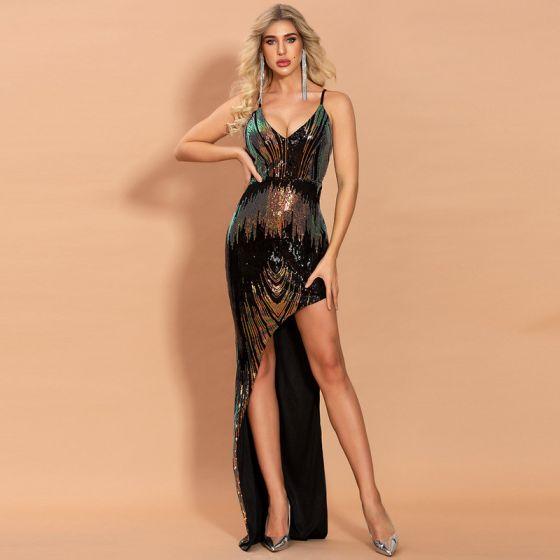 Błyszczące Czarne Cekiny Sukienki Wieczorowe 2020 Syrena / Rozkloszowane Spaghetti Pasy Bez Rękawów Asymetryczny Bez Pleców Sukienki Wizytowe
