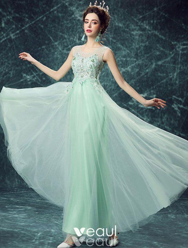 Reizvolles Lange Spitze Abendkleid Grünes Festliche Kleid ...
