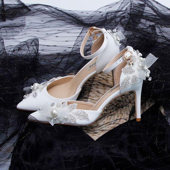 Eleganta Elfenben Rhinestone Brudskor 2020 Pärla Ankelband 9 cm Stilettklackar Spetsiga Bröllop Klackskor