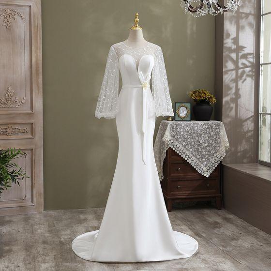 Moda Kość Słoniowa Syrena / Rozkloszowane Suknie Ślubne 2021 Wycięciem Cekiny Kokarda Z Koronki Kwiat Długie Rękawy Bez Pleców Trenem Sweep Ślub