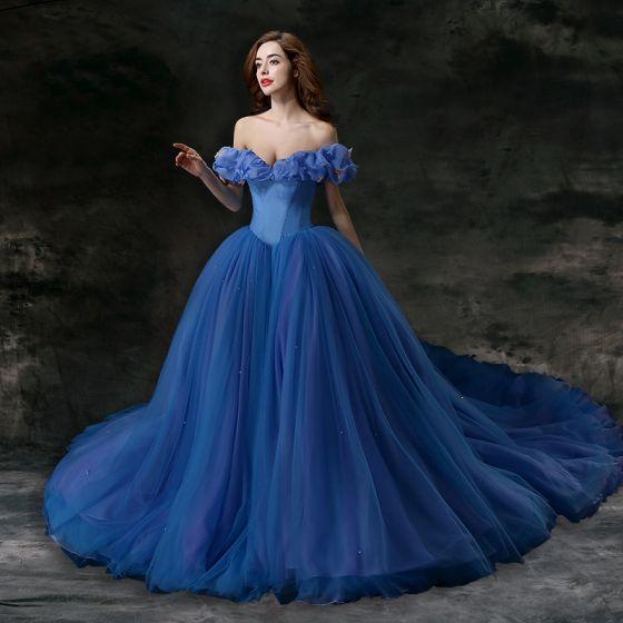 Cenicienta Océano Azul Vestidos de gala 2018 Ball Gown Charmeuse mariposa Fuera Del Hombro Sin Espalda Sin Mangas Cathedral Train Vestidos Formales
