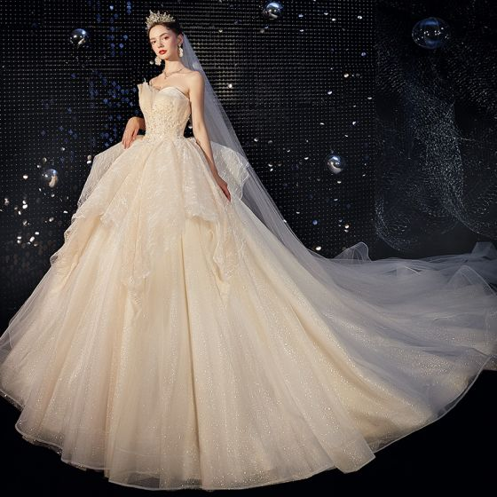 Luxury / Gorgeous Champagne Wedding Dresses 2020 Ball Gown Strapless Beading Lace Flower Sequins Sleeveless Backless Cascading Ruffles Royal Train