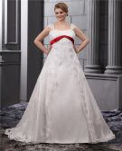 Spitzen Perlen Applique Quadrat-ausschnitt Bodenlangen Große Größen Brautkleider Hochzeitskleid