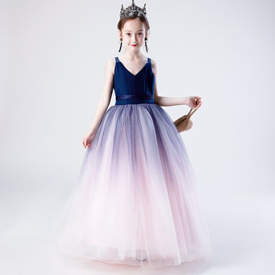 Chic / Beautiful Navy Blue Gradient-Color Flower Girl Dresses 2019 Ball Gown V-Neck Sleeveless Sash Floor-Length / Long Ruffle Backless Wedding Party Dresses