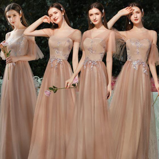 Eleganckie Brązowy Sukienki Dla Druhen 2020 Princessa Bez Pleców Aplikacje Z Koronki Długie Wzburzyć