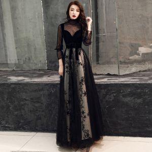 Chic / Belle Noire Robe De Soirée 2019 Princesse Daim Tachetée Col Haut Étoile Noeud 3/4 Manches Longue Robe De Ceremonie