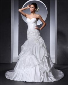 Sweetheart Beading Ruffle Flower Floor Length Taffeta Woman Ball Grown Wedding Dress