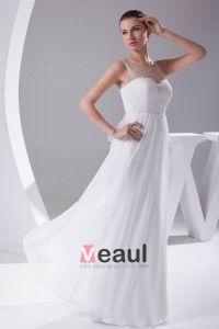 Elegante Chiffon Charmeuse Tule Beading Vierkante Hals Vloerlengte Vrouwen Trouwjurken Bruidsjurken