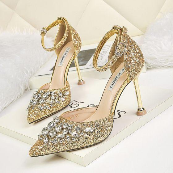Scintillantes Doré Chaussure De Mariée 2019 Bride Cheville Faux Diamant Paillettes 9 cm Talons Aiguilles À Bout Pointu Mariage Talons