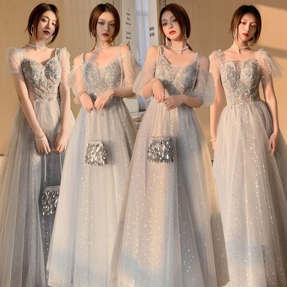 Fashion Grey Bridesmaid Dresses 2021 A-Line / Princess Square Neckline Beading Sequins Lace Flower Short Sleeve Backless Floor-Length / Long Wedding Party Dresses