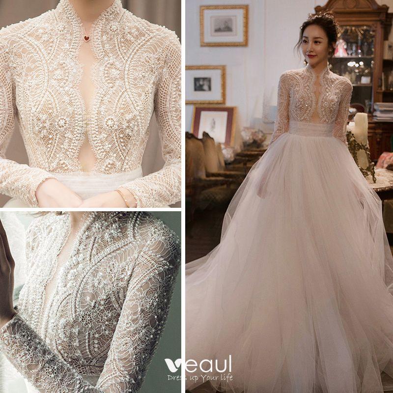 elegant ivory pierced wedding dresses 2018 empire high