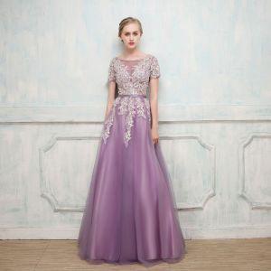 Chic / Belle Grape Robe De Soirée 2017 Princesse En Dentelle Fleur Perlage Paillettes Encolure Dégagée Manches Courtes Longue Robe De Ceremonie
