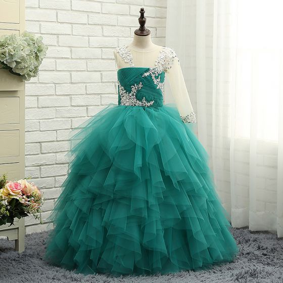 Amazing / Unique Hall Wedding Party Dresses 2017 Flower Girl Dresses Jade Green Ball Gown Pleated Floor-Length / Long One-Shoulder 1/2 Sleeves Sequins Rhinestone Appliques