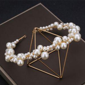 Charmant Klassisch Elegante Ivory / Creme Handgefertigt 2019 Perlenstickerei Perle Cocktail Abend Kopfschmuck Hochzeit Brautaccessoires