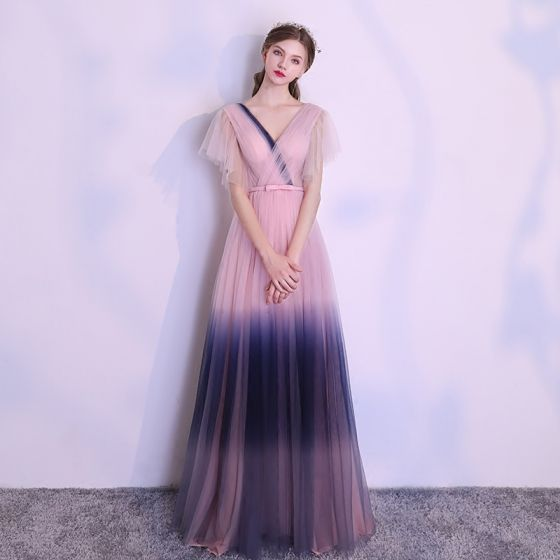 Amazing / Unique Blushing Pink Gradient-Color Navy Blue Evening Dresses  2018 A-Line / Princess V-Neck Short Sleeve Bow Sash Floor-Length / Long Ruffle Backless Formal Dresses
