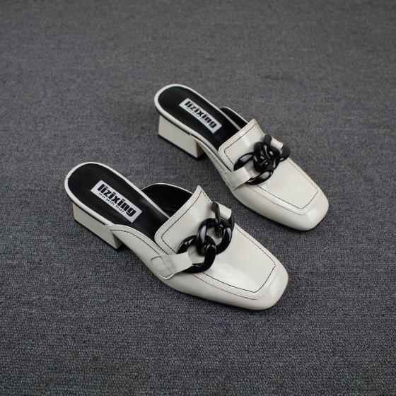 Vintage Białe Przypadkowy Pantofle & Klapki 2019 Skórzany Grubym Obcasie Kwadratowe Buty Damskie