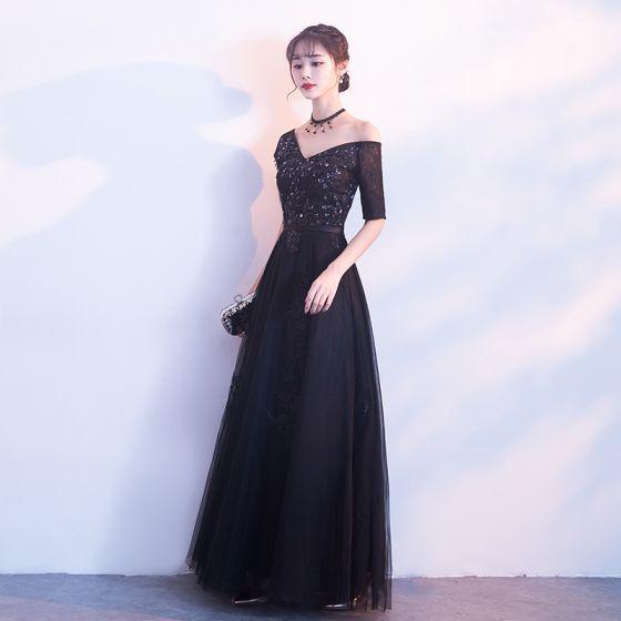 Único Negro Vestidos de noche 2017 A-Line / Princess V-Cuello Tul Apliques Sin Espalda Rebordear Noche Vestidos Formales