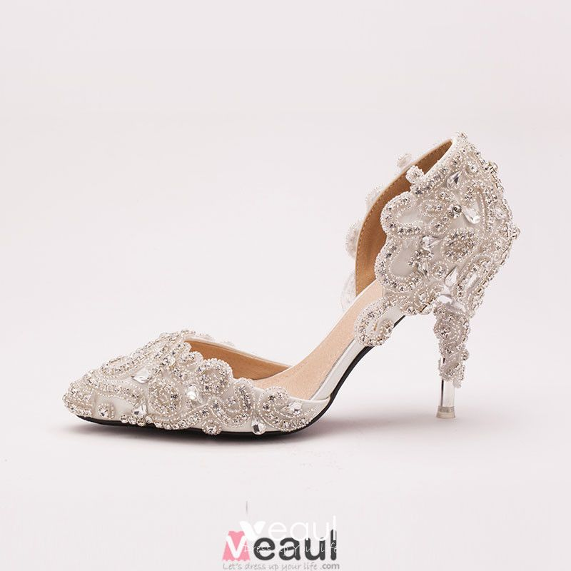 Crystal Rhinestone White Bridal Shoes / Wedding Shoes