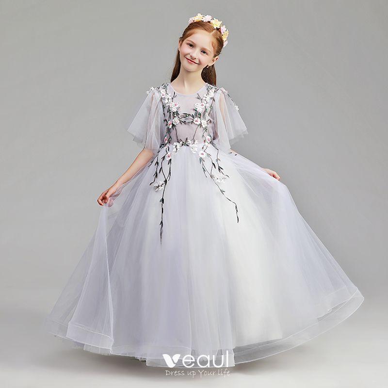 f576d71f7 Sencillos Espliego Vestidos para niñas 2019 A-Line   Princess Scoop Escote  1 2 Ærmer Apliques Con Encaje Perla Largos Ruffle Vestidos para bodas