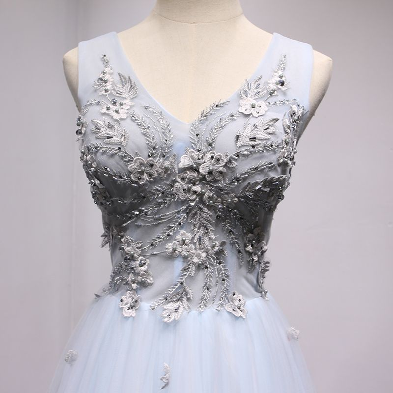 Chic / Beautiful Sky Blue Evening Dresses 2017 A-Line / Princess Lace Flower Pearl Bow V-Neck Backless Sleeveless Floor-Length / Long Formal Dresses