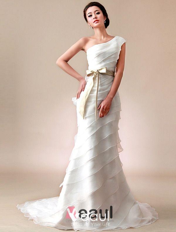 2015 A Line One Shoulder Pleated Satin Bow Sash Organza Wedding Dress