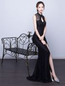 Sexy Mermaid Evening Dress 2017 Backless Black Formal Dress
