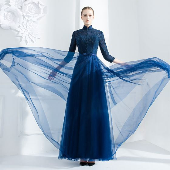 Chinese style Navy Blue Evening Dresses  2018 A-Line / Princess Beading Sequins Bow High Neck 3/4 Sleeve Ankle Length Formal Dresses