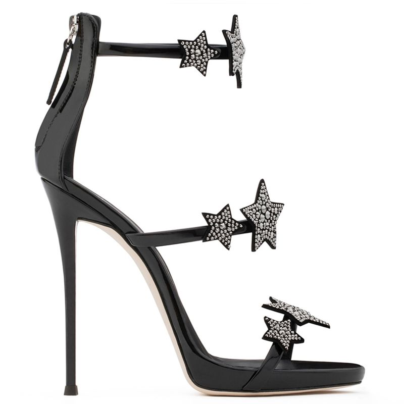 Modern / Fashion Silver 10 cm 2018 High Heels Star Zipper Ankle Strap Beading Rhinestone Sandals Open / Peep Toe Stiletto Heels Evening Party Hall Womens Shoes